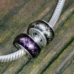 Retired Pandora Purple and Silver Floral Spacers